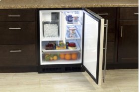 """24"""" Refrigerator and Freezer with Crescent Ice Maker and MaxStore Utility Bin (Marvel) - Smooth White Door, Left Hinge"""