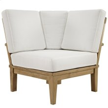 Marina Outdoor Patio Teak Corner Sofa in Natural White