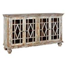 Bengal Manor Mango Wood 4 Glass Door Distressed Grey Sideboard