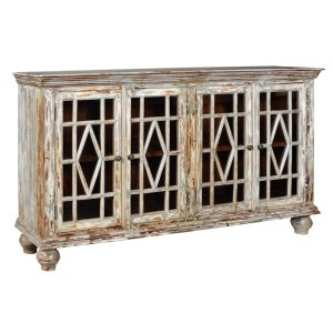 CRESTVIEW COLLECTIONSBengal Manor Mango Wood 4 Glass Door Distressed Grey Sideboard