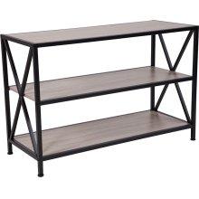 "Chelsea Collection 3 Shelf 26""H Cross Brace Bookcase in Sonoma Oak Wood Grain Finish"