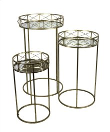 S/3 Round Gold Accent Tables, Mirror Top