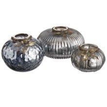 Blue Mercury Glass Tealight Holders set/3