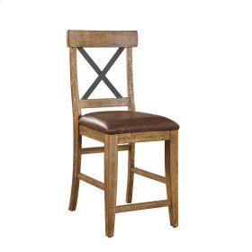Barstool W/metal Cross Back-dk Brown Pu Upholstered Seat