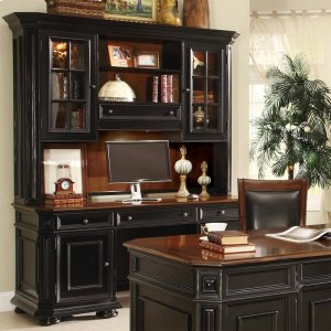 RiversideAllegro - Credenza Hutch - Burnished Cherry/rubbed Black Finish