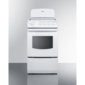 """Summit20"""" Wide Smooth-top Electric Range In White With Oven Window"""
