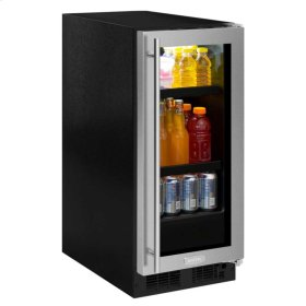 "Floor Model - 15"" Beverage Center - Stainless Frame Glass Door - Right Hinge, Stainless Designer Handle"