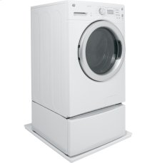 Low profile universal washer floor tray in white