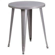 24'' Round Silver Metal Indoor-Outdoor Table