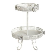 White and Gold Rose Two-Tier Storage Stand.