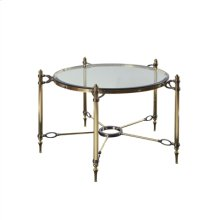 Polished Brass and Steel Cocktail Table with Inset Beveled Glass