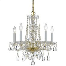 Traditional Crystal 5 Light Swarovski Strass Crystal Brass Mini Chandelier