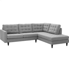 Empress 2 Piece Upholstered Fabric Right Facing Bumper Sectional in Light Gray