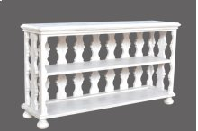Bengal Manor Mango Wood White Carved Pattern Console