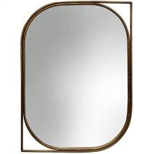 Right Facing Gold Mirror  35in X 26in X 1in  Metal Wall Mirror