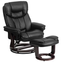 Contemporary Multi-Position Recliner and Curved Ottoman with Swivel Mahogany Wood Base in Black Leather