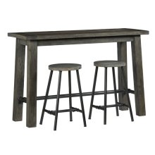 Counter Height Console w/ 2 Stools - Weathered Smoke/Metal Finish