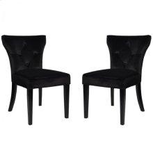 Elise Side Chair in Black Velvet (Set Of 2)