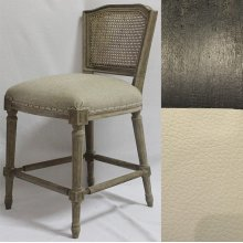 Black Wood Ethan Counter Stool in Leather/Cane Back