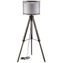 Fortune Pine Wood and Steel Floor Lamp in Antique Silver