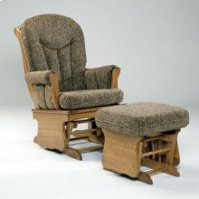 Contemporary solid oak glider with padded arms