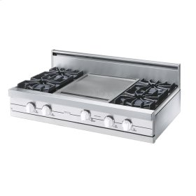 "White 42"" Open Burner Rangetop - VGRT (42"" wide, four burners 18"" wide griddle/simmer plate)"