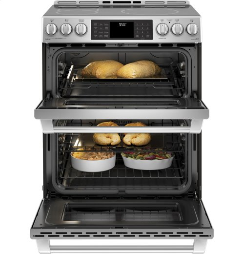 "GE Cafe™ Series 30"" Slide-In Front Control Induction and Convection Double Oven Range"
