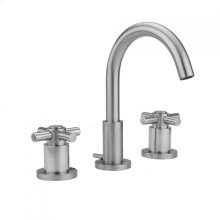 Antique Brass - Uptown Contempo Faucet with Round Escutcheons & Contempo Cross Handles & Fully Polished & Plated Pop-Up Drain