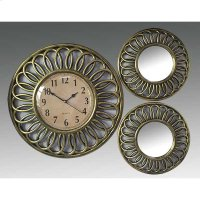 ANTIQUE GOLD 3PC. CLOCK AND MIRROR SET Product Image