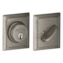 Single Cylinder Deadbolt with Addison trim - Distressed Nickel