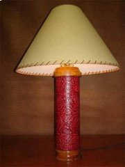 Red Leather Table Lamp Product Image