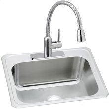 """Elkay Stainless Steel 25"""" x 22"""" x 10-1/4"""", Single Bowl Drop-in Sink and Faucet Kit"""