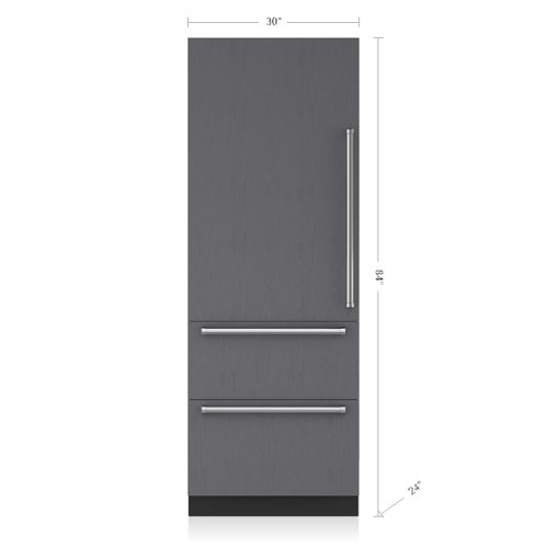 "30"" Designer Over-and-Under Refrigerator - Panel Ready"