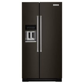 KitchenAid® 22.7 Cu. Ft. Counter Depth Side-by-Side Refrigerator with Exterior Ice and Water - Black Stainless