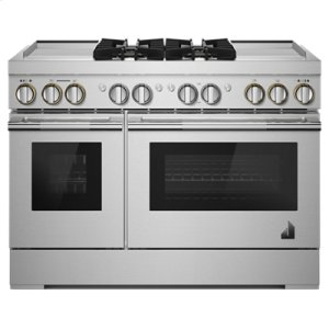 "JennAirRISE 48"" Dual-Fuel Professional Range with Dual Chrome-Infused Griddles"