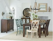 Grey Leg Table and 6 chairs (multi-colored)