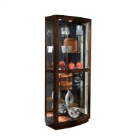 Curved Front 5 Shelf Curio Cabinet in Mahogany Brown Product Image
