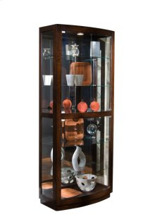 Curved Front 5 Shelf Curio Cabinet in Mahogany Brown