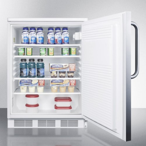 Commercially Listed Freestanding All-refrigerator for General Purpose Use, Auto Defrost W/lock, Ss Wrapped Door, Towel Bar Handle, and White Cabinet