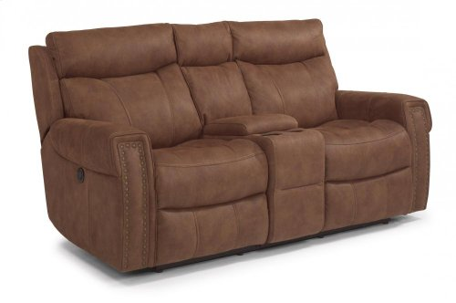 Wyatt Fabric Power Reclining Loveseat with Console