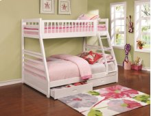 Twin / Full Wood Bunkbed with Storage Drawers (White)