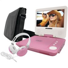 """7"""" Swivel-Screen Portable DVD Player Bundle (Pink)"""