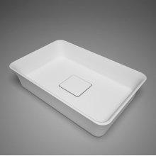 "metrix blustone™ rectangular countertop basin, white matte with drain cover, 22 3/4"" l x 15"" w x 5 1/2"" h"