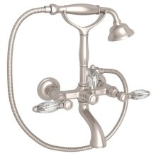 Satin Nickel Italian Bath Exposed Wall Mount Tub Filler With Handshower with Crystal Lever