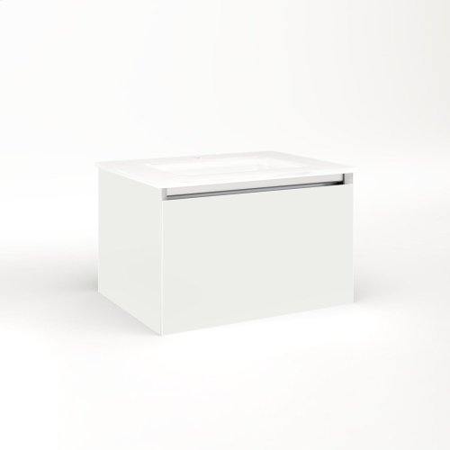 """Cartesian 24-1/8"""" X 15"""" X 18-3/4"""" Single Drawer Vanity In Beach With Slow-close Full Drawer and Night Light In 5000k Temperature (cool Light)"""