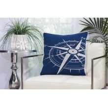 "Outdoor Pillow L1523 Navy/white 20"" X 20"" Throw Pillow"