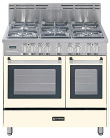 "Antique White (Bisque) 36"" Dual Fuel Convection Range with Double Oven"