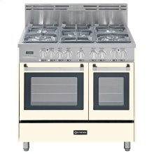 """Antique White (Bisque) 36"""" Dual Fuel Convection Range with Double Oven"""