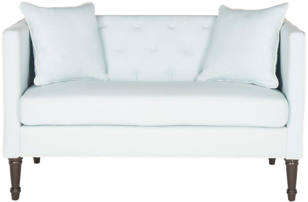 Sarah Tufted Settee With Pillows - Powder Blue / White / Espresso