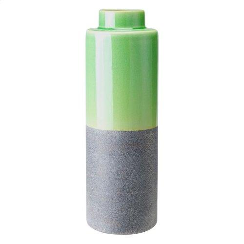 Stoneware Bottle Md Green & Gray
